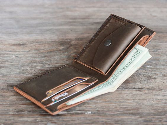 Mens Leather Wallet with Coin Pocket - All Currency Friendly - Rugged, Rustic Appeal - Listing [003]