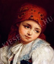 Artwork by Istvan Csók, Girl with Head Scarf, Made of Oil on canvas
