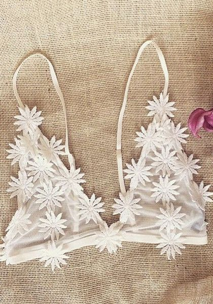 Looking fresh ladies. This white daisy bralette is made in white mesh and features daisy applique, triangle cups and adjustable straps on shoulders. | Lookbook Store What's New