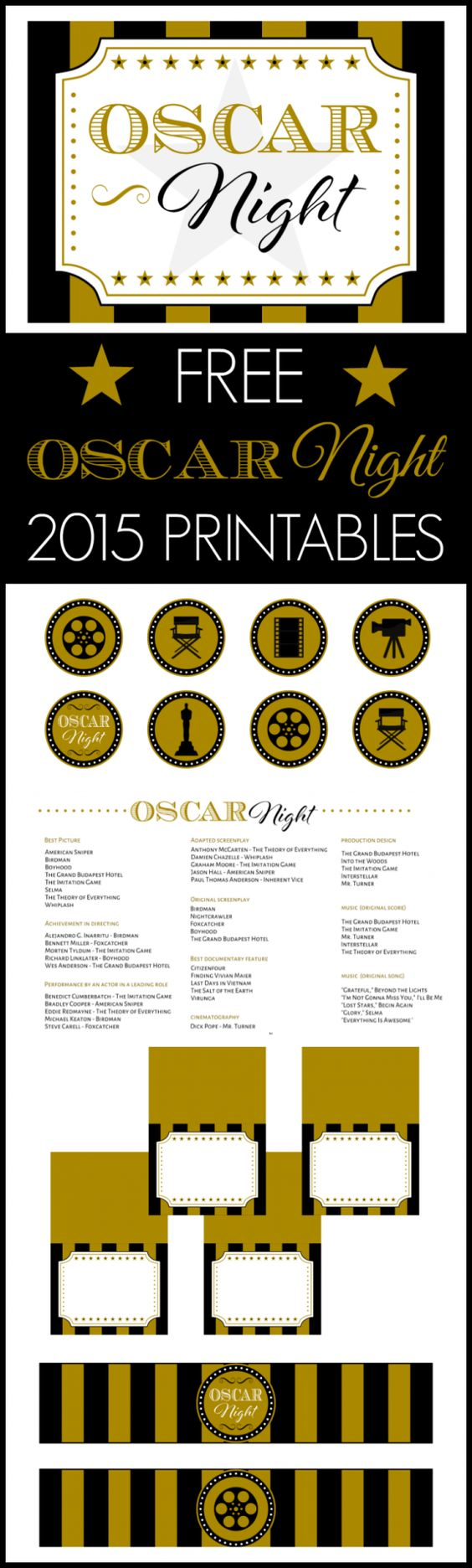 Free 2015 Oscar Night Party Printables Pinterest Feest