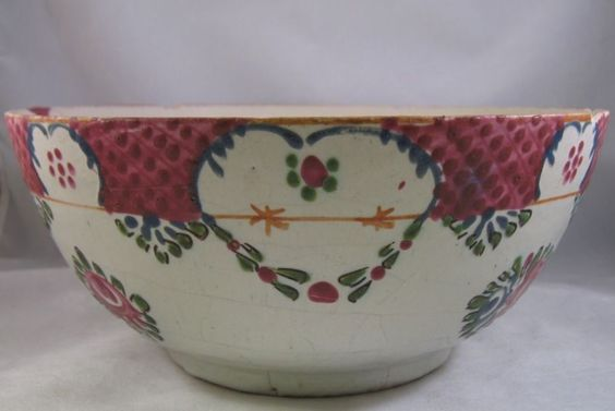 Antique Delft polychrome chinoiserie bowl 18th famille rose