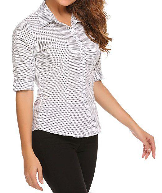 BeautyUU Damen 3//4 /Ärmel Shirt Hemd Casual Bluse Einfarbig Oberteil Hemdbluse Damenbluse Shirtbluse Baumwolle