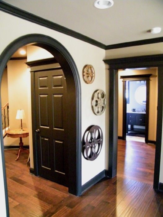 Black trim love this instead of white no more wiping for Baseboards doors and more