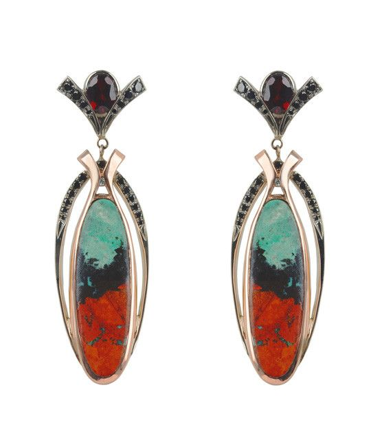 Labyrinth Agate & Garnet Earrings