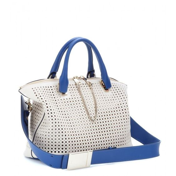 Shopper Chloe Baylee Handbag White Blue Leather Tote Shoulder Bag ...