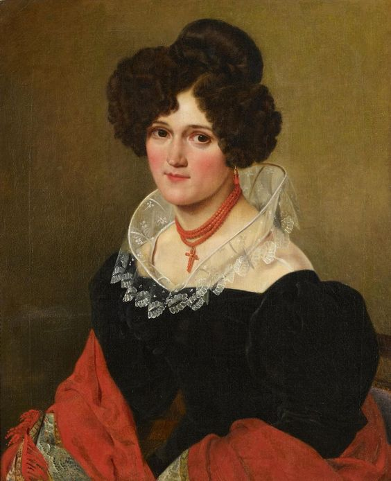 NEUMANN, H. Young Lady in a Black Dress with Red Shawl.