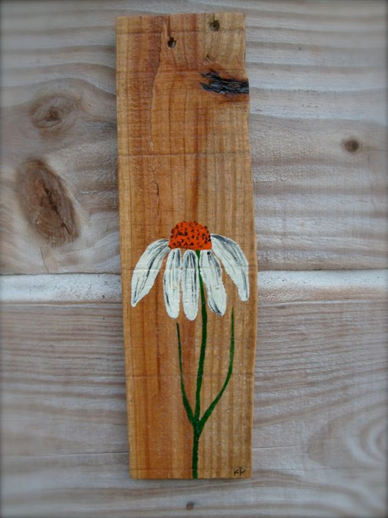 Coneflower painted on recycled pallet wood by for Wood craft painting ideas