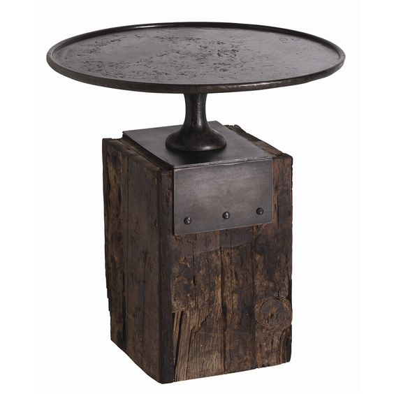 Arteriors DD2028 Anvil Side Table Barry Dixon Round Dia 25 H 26.5 Railroad Tie Base Iron Top Industrial $2750 #DarkFinish #2Foot