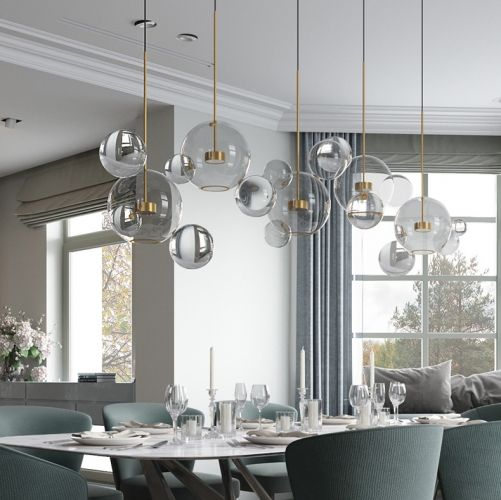 Modern Soap Bubble Clear Globe Glass 3 Light Led Multi Light Pendant Dining R Dining Room Chandelier Modern Pendant Lighting Dining Room Dining Room Chandelier