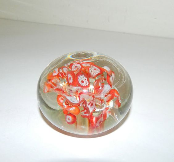 Vintage Handmade Glass Paperweight Orange & White by AbsoluteUsed, $19.99