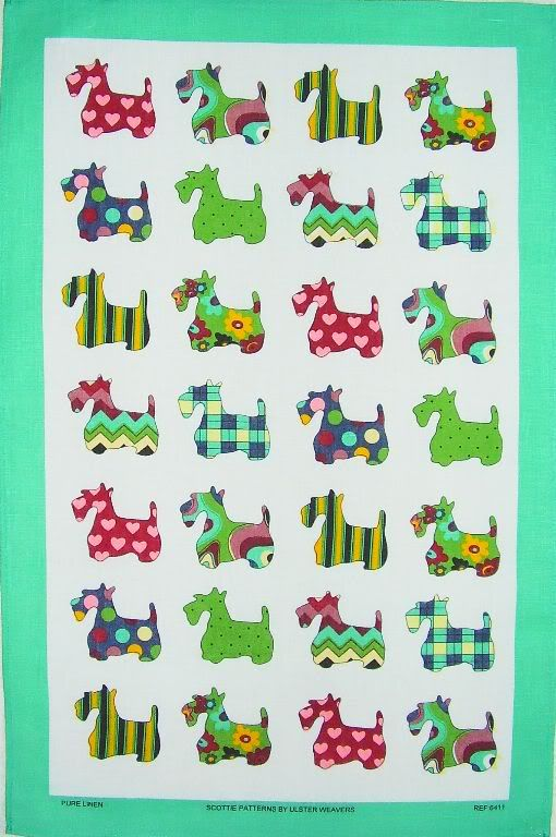 Scottie Dog Patterns Linen Tea Towel