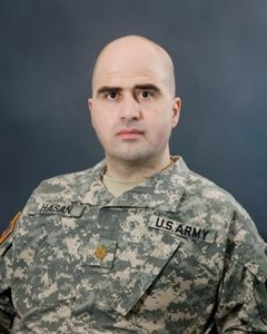 Nidal Malik Hasan (born September 8, 1970, in Arlington County, Virginia) is an American convicted of fatally shooting 13 people and injuring more than 30 others in the Fort Hood mass shooting on November 5, 2009. Hasan was a United States Army psychiatrist and Medical Corps major who admitted to the shootings at his court-martial in August 2013. A jury panel of thirteen officers convicted him of 13 counts of premeditated murder, 32 counts of attempted murder, and unanimously recomme