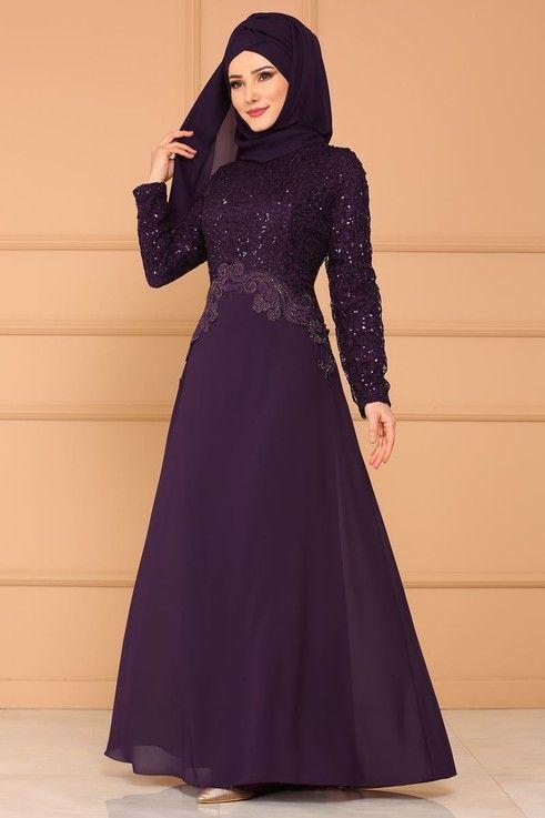 Modaselvim Abiye Beli Verev Gupurlu Sifon Abiye Alm3011 Koyu Mor Elbise Elbise Modelleri Elbiseler