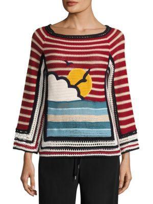 RED VALENTINO Beach Open Knit Cotton Sweater. #redvalentino #cloth #sweater