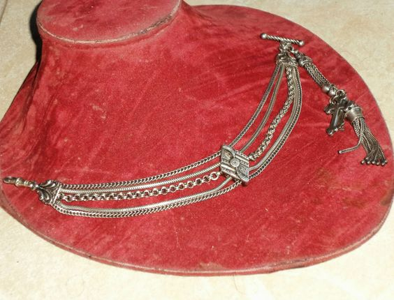 1890-1910.  Fine and substantial sterling silver albertina chain.