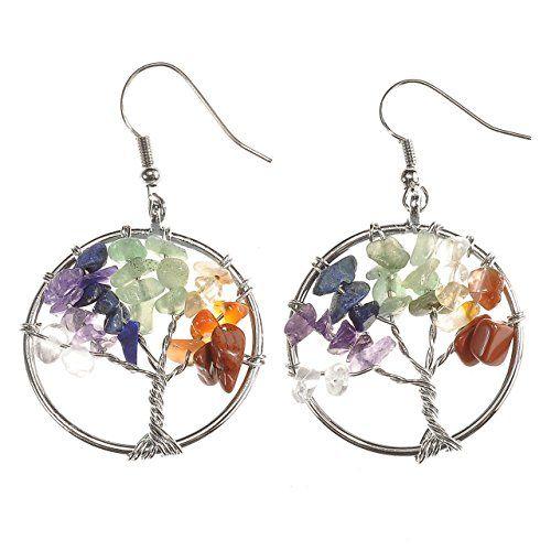 Rainbow Gemstone Boucles d/'oreilles arbre de vie Sterling Silver Dangle Boucles d/'oreilles Chakra