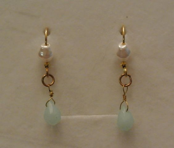 Handmade Dainty Pearl and Mint Gold Earrings-Women-Gift-Affordable Jewelry-Wire Wrapped-Beach Jewelry-Gold Tone-Pierced Earrings-Tear Drop