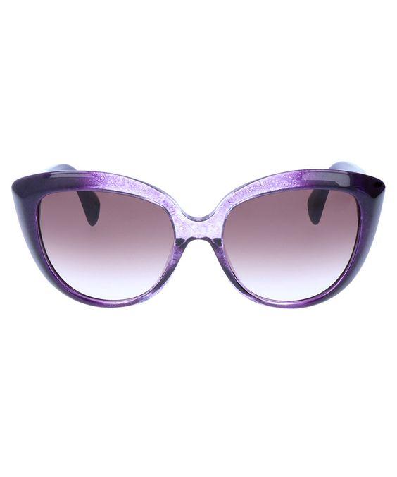 Alexander McQueen Plum & lilac round cat eye sunglasses