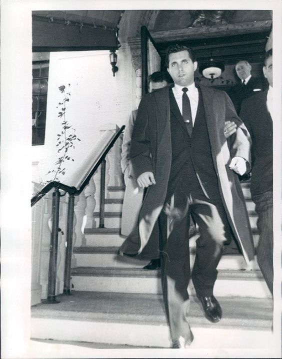 1957 Albert Anastasia Jr Leaves Funeral of Mob Boss Father Wire Photo