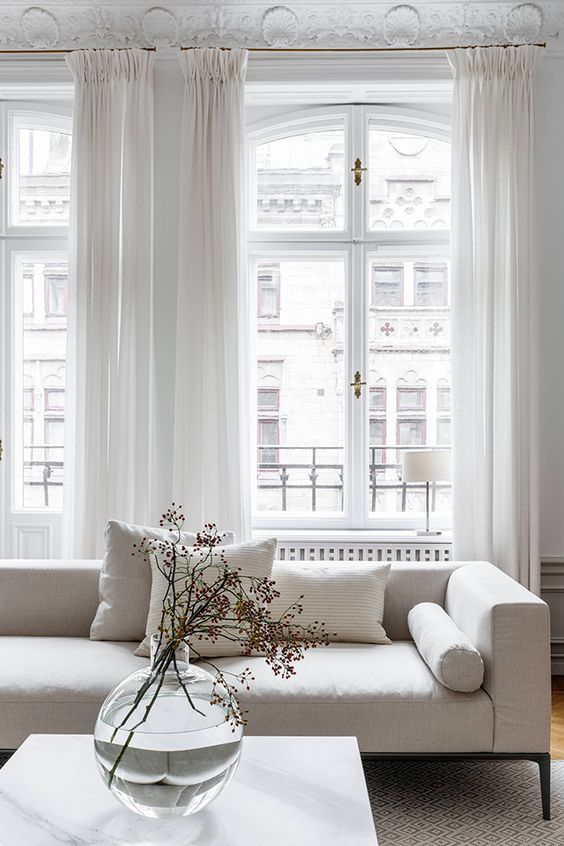 Curtains And White Color Palette Interior Design Living Room