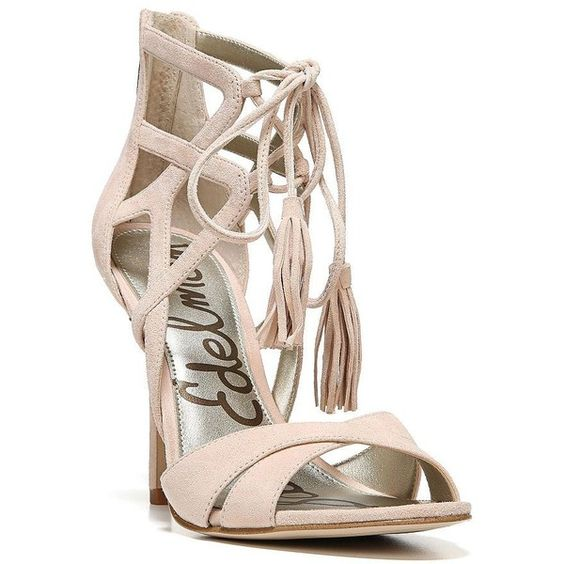 Sam Edelman Azela Lace-Up Suede Sandals ($78) ❤ liked on Polyvore featuring shoes, sandals, nude, laced sandals, lace up shoes, tie sandals, nude shoes and tie shoes