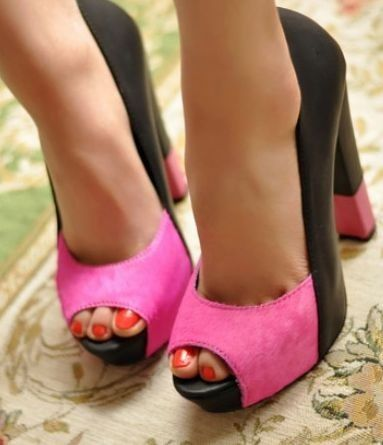 Pink-and-black shoes