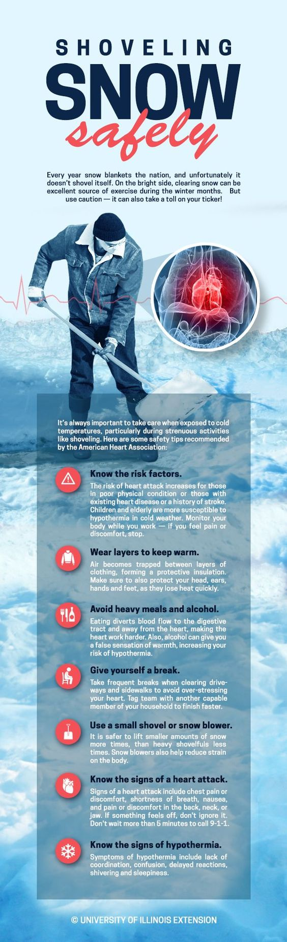 Shoveling Snow Safely  Cold Weather Tips! #infographic