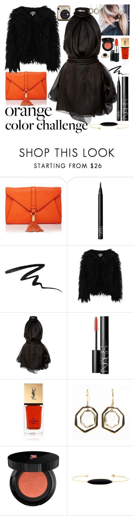 """Orange and black II"" by staceybuijs ❤ liked on Polyvore featuring Milly, NARS Cosmetics, Stila, Dry Lake, Brandon Maxwell, Yves Saint Laurent, MAC Cosmetics, Ippolita, Lancôme and Aliita"