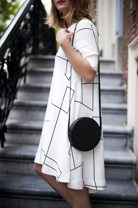 white with black lines chiffon dress