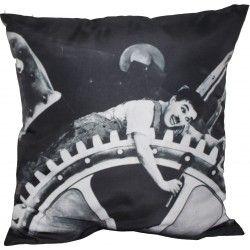 Almofada Impressão Digital Charlie Chaplin Engranagem Preto & Branco