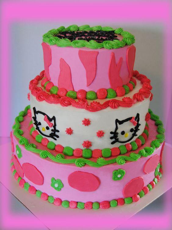 A fun, 3 tier Hello Kitty cake.