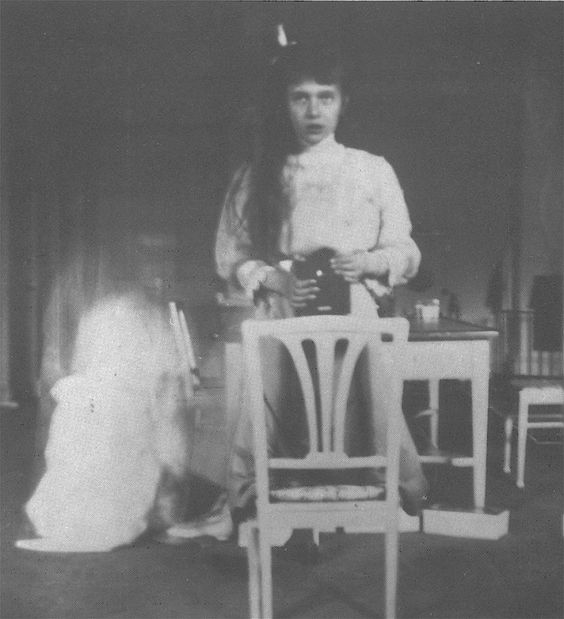 "1913 Anastasia selfie ""Russian Grand Duchess Anastasia Nikolaevna at the age of 13 was one of the first teenagers to take her own picture using a mirror to send to a friend in 1914. In the letter that accompanied the photograph, she wrote, ""I took this picture of myself looking at the mirror. It was very hard as my hands were trembling."""