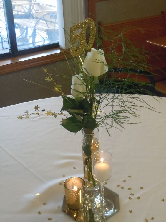 50th anniversary centrepieces and anniversaries on pinterest for Table decoration 50th birthday