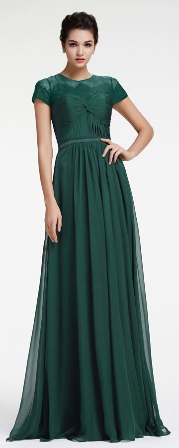Forest Green Modest Evening Dress with Sleeves Plus Size Formal ...