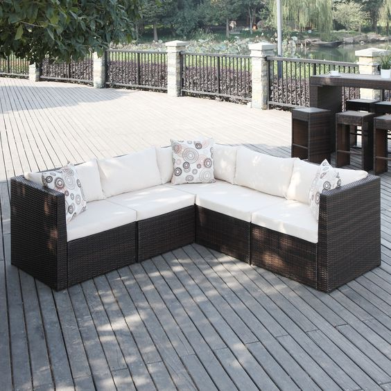 Portfolio aldrich brown indoor outdoor 5 piece sectional for Small outdoor sofa