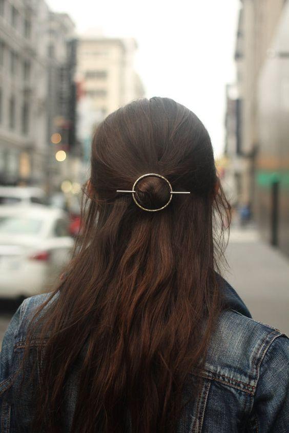 Open circle hair slide silver hair clip hammered brass hair barrette minimalist rustic copper hair accessories shawl pin woman's accessories