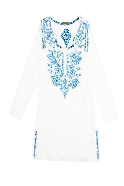 Mini Tunic Dress in White/Indigo - LOOOVE