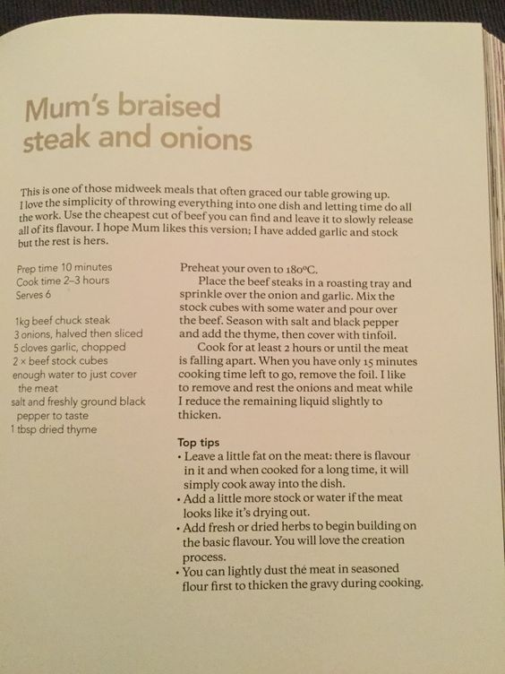 Mum's braised steak and onions
