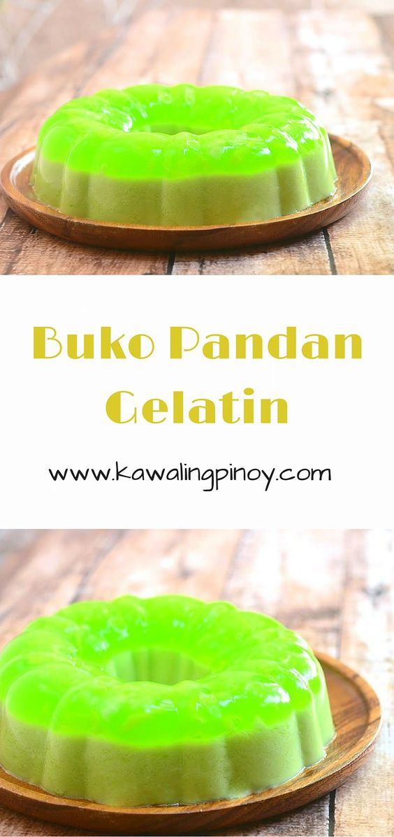 Buko Pandan Gelatin is a delicious two-colored dessert made with pandan flavored agar agar, coconut milk and shredded young coconut