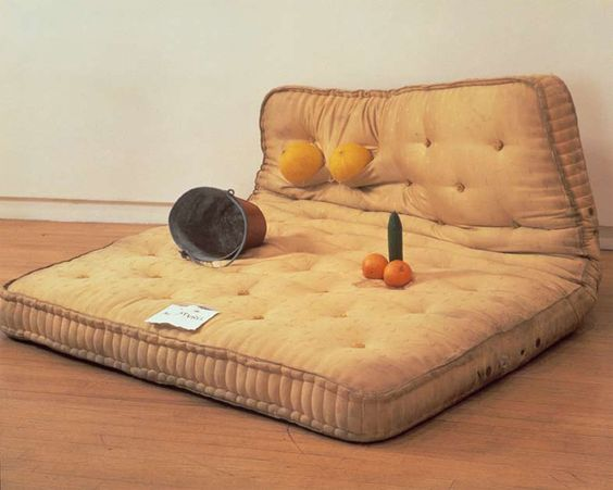 Sarah Lucas | Au Naturel 1994 Mattress, water bucket, melons, oranges and cucumber 84 x 168 x 145 cm: