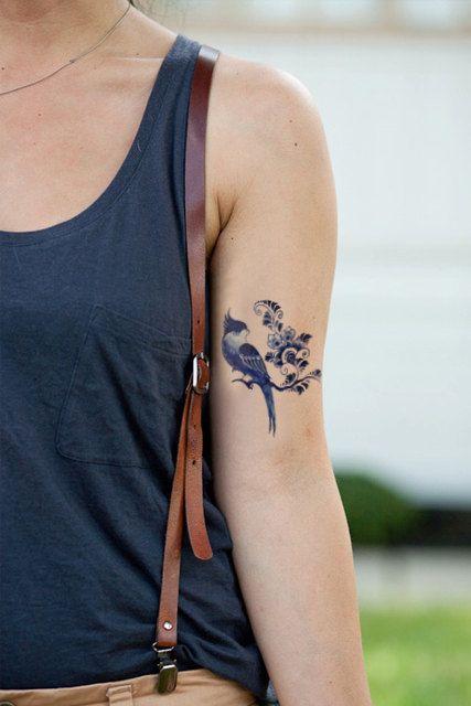 Tatouage temporaire de Delft Blue bird / tatouage temporaire bleu de Delft…