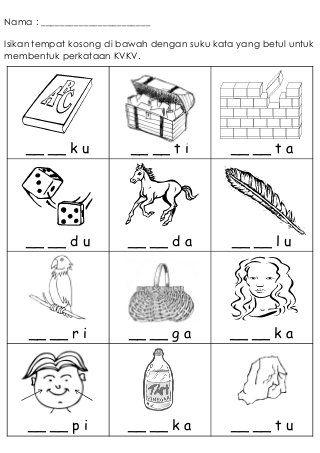 Latihan Kvkv 1 School Kids Activities Kindergarten Worksheets Free Printables Kindergarten Reading Activities