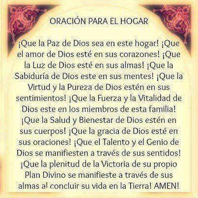Oración para el hogar   Oraciones   Pinterest