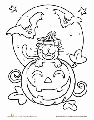 halloween cat coloring page halloween scene scary and kitty - Printable Halloween Activity Pages
