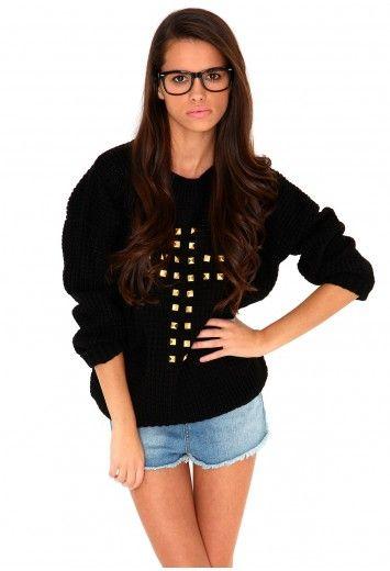 Doretta Stud Cross Jumper In Black- knitwear- missguided