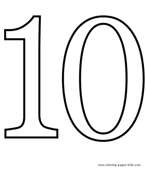 Free coloring pages for numbers 1 10 counting number for Ten coloring page