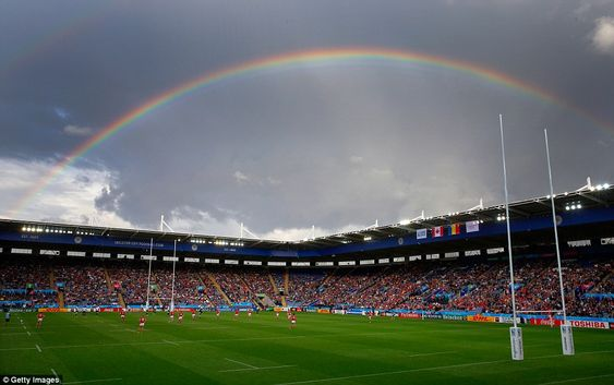 A rainbow shone over the King Power Stadium in Leicester, as Canada and Romania…