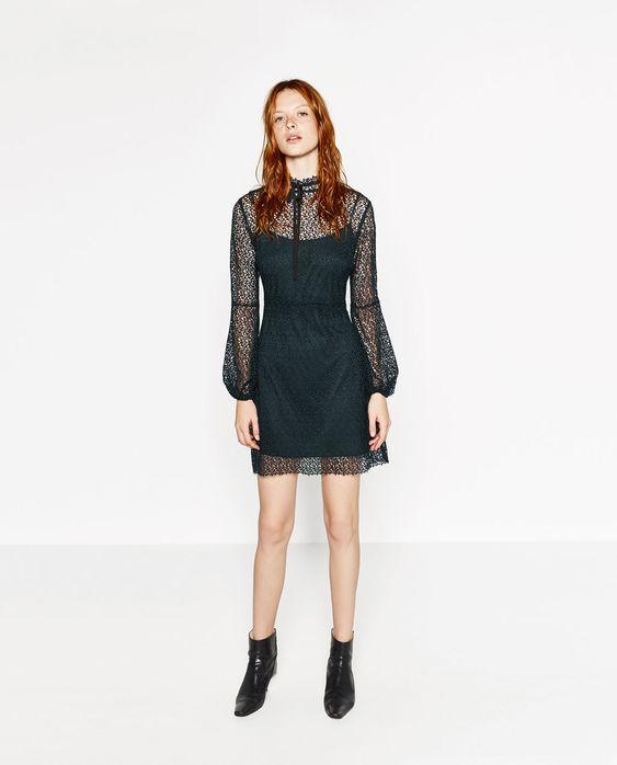 Image 1 of SHEER LONG SLEEVE DRESS from Zara