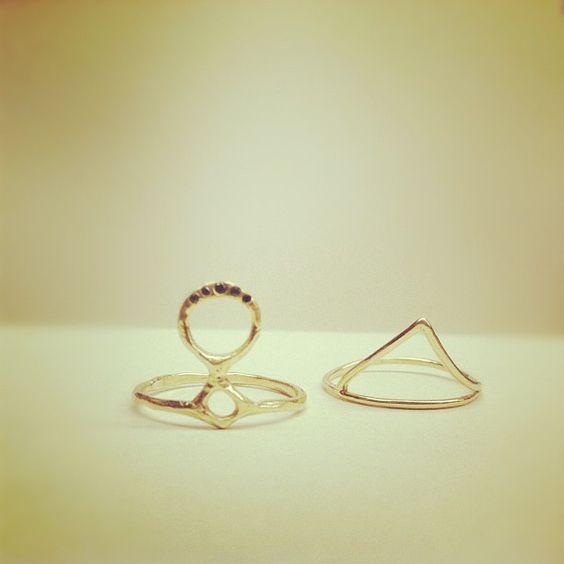 odette totem ring 14K with black diamonds, 10K klaia ring // catbird