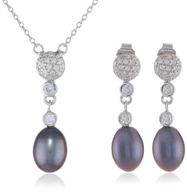 Bella Pearl Black Pearl Necklace and Earrings Jewelry Set